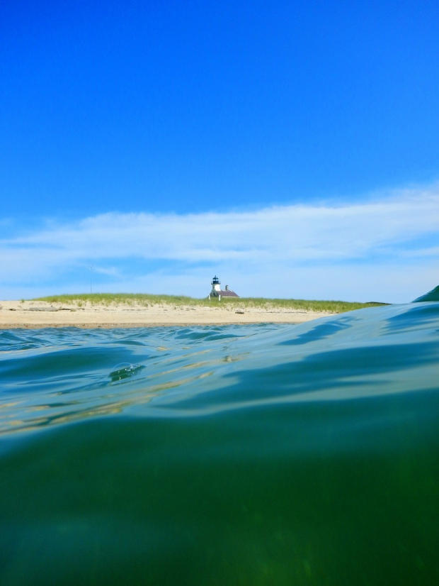 North Lighthouse from the water, Longwood Cove, Block Island, Rhode Island