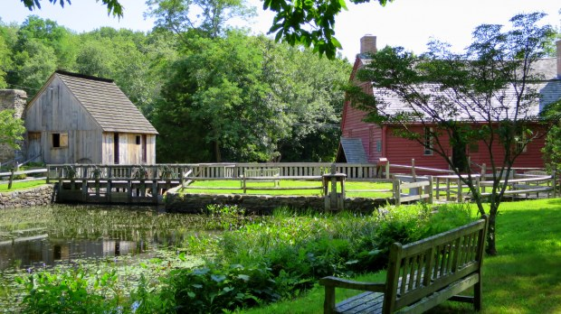 Mill pond, Hammond Mill, and Gilbert Stuart House, Gilbert Stuart Museum, Saunderstown, Rhode Island