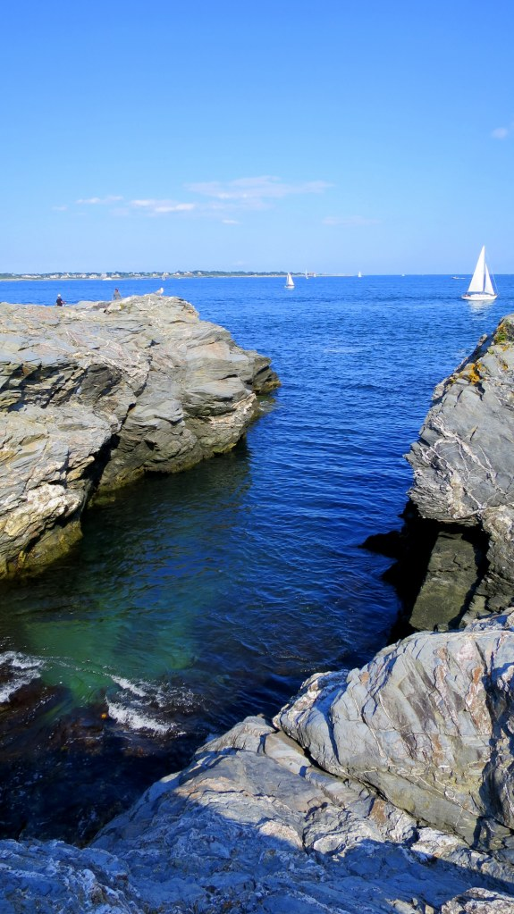 Inlet with pretty green water, Beavertail State Park, Jamestown, Rhode Island