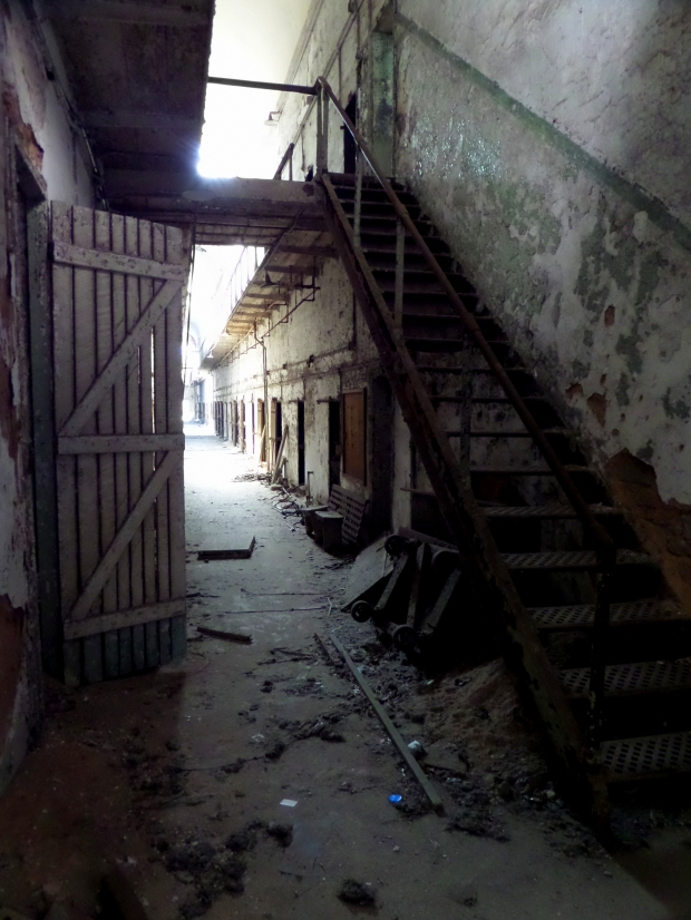 Stairs leading to second floor gallery, Eastern State Penitentiary, Philadelphia, Pennsylvania