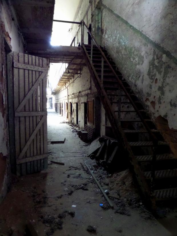 Stairs leading to second floor gallery, Eastern State Penitentiary, Philadelphia, Pennsylvania