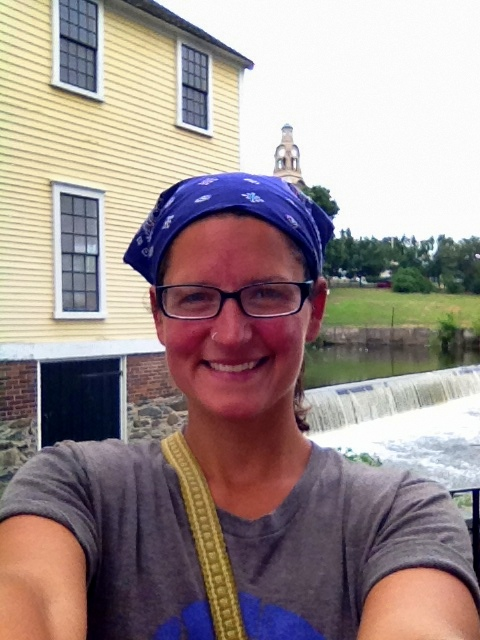 Me in front of Slater Mill and Blackstone River, Slater Mill Historic Site, Pawtucket, Rhode Island