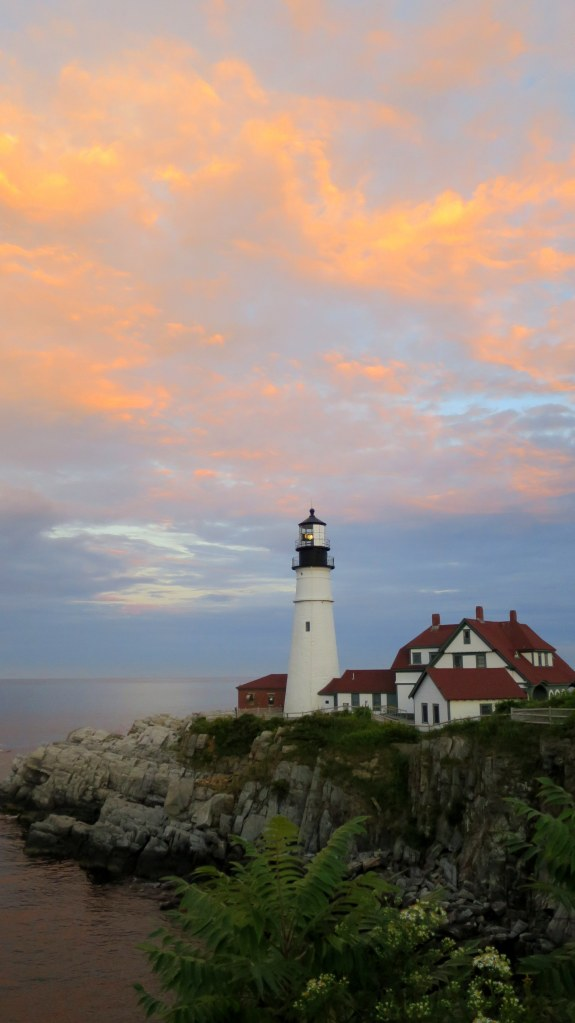 Sunset over Portland Head Lighthouse, Fort Williams Park, Portland, Maine