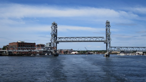 Lift open on Memorial Bridge after passing under, Piscataqua River