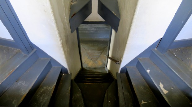 Looking down stairs from officers' quarters, Fort McClary, Kittery Point, Maine