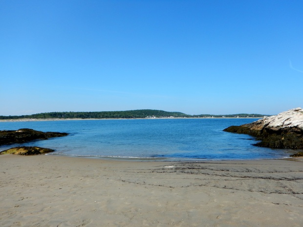 Exposed beach on the island at low tide, Popham Beach State Park, Maine