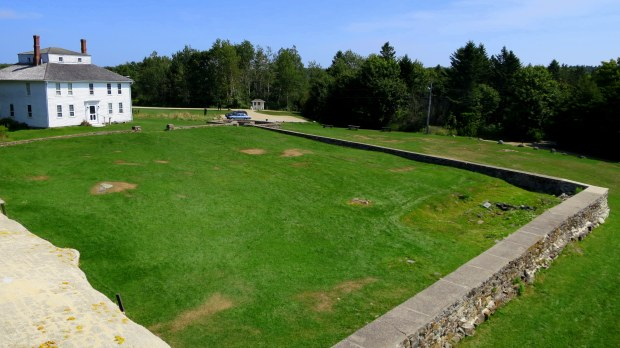 Courtyard of Fort William Henry from top of bastion, Fort William Henry, Maine