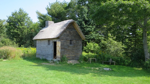 Reconstructed wattle and daub house that was typical of local dwellings in the early 17th century, Fort William Henry, Maine