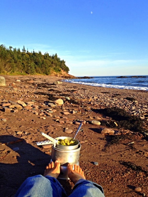 Making dinner on the beach, New Brunswick, Canada