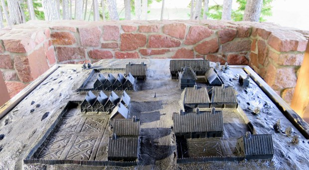 Model of French settlement on St. Croix Island International Historical Site, Maine