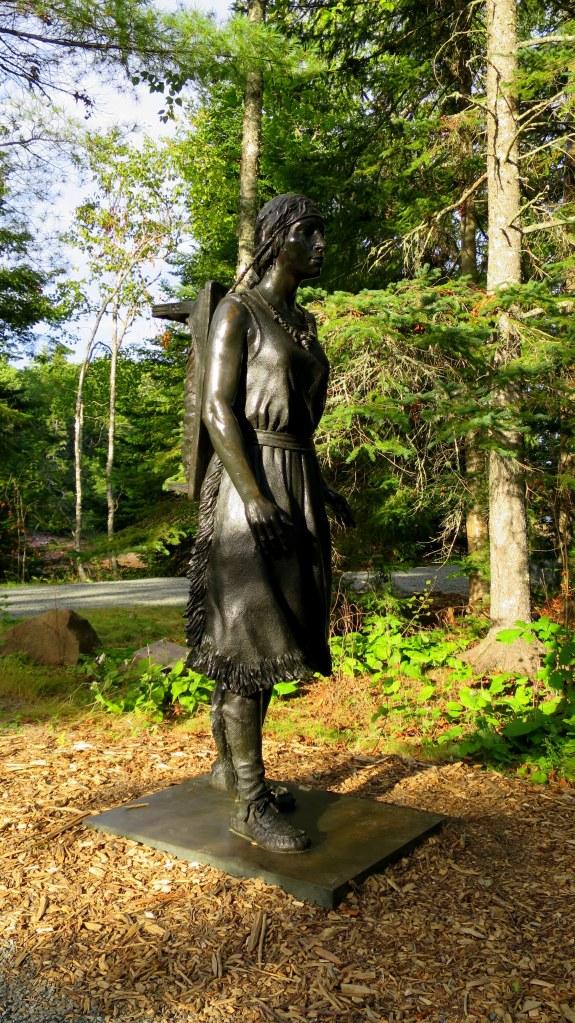 Sculpture of Passamaquoddy woman,  St. Croix Island International Historical Site, Maine