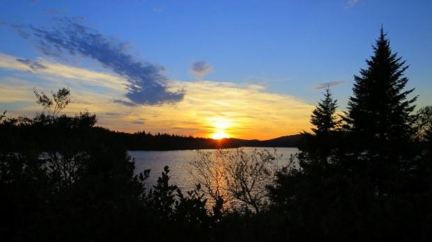 Sunset over a lake, New Brunswick, Canada