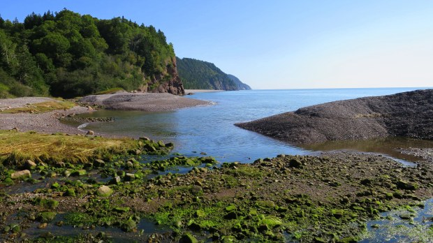 Pangburn Beach and Melvin Beach in the far cove, Fundy Trail, New Brunswick, Canada