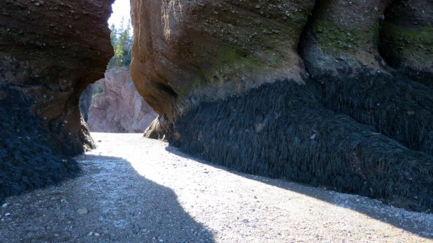Walking between the rocks, Hopewell Rocks, New Brunswick, Canada