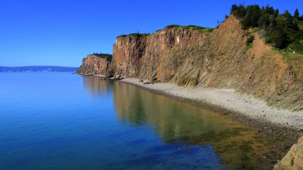 Another view of the copper cliffs at Cape D'Or, Nova Scotia, Canada