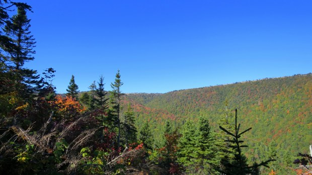 View up the valley from Aspy Trail, Cape Breton Highlands National Park, Nova Scotia, Canada