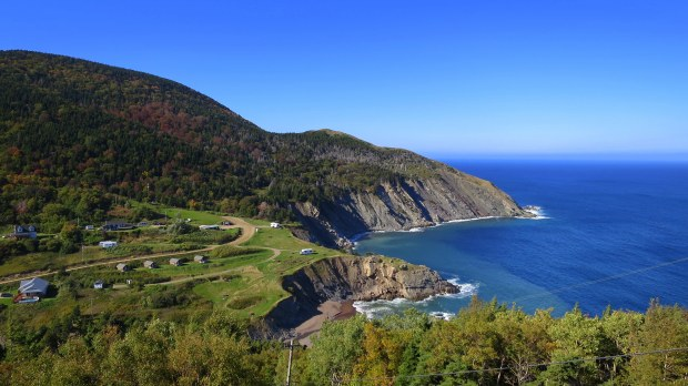 View down on Meat Cove, Cape Breton Island, Nova Scotia, Canada
