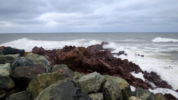 Storm waves crashing on rhyolite at Arisaig Point, Nova Scotia, Canada
