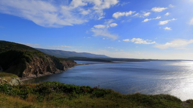 Overlook from Cabot Trail onto Gulf of St. Lawrence, Cape Breton Highlands National Park, Nova Scotia, Canada