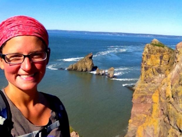 Me at tip of headland, Cape Split Trail, Cape Split Provincial Park, Nova Scotia, Canada