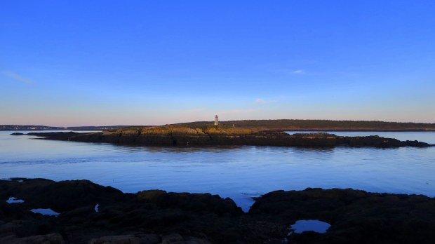View of Boar's Head Lighthouse on Long Island across Grand Passage, Brier Island, Nova Scotia, Canada
