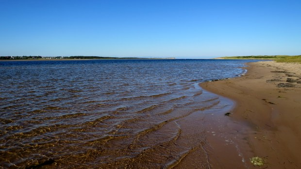 Exploring the shore of St. Peters Bay from a path off Tlaqatik Trail, Greenwich, Prince Edward Island National Park, Prince Edward Island, Canada