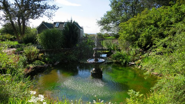 Fountain in garden, Bottle Houses, Prince Edward Island, Canada