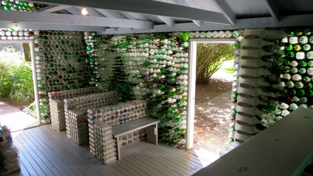Pews in Bottle Chapel, Prince Edward Island, Canada