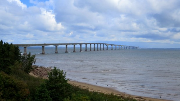 Confederation Bridge from observation tower, Cape Jourimain National Wildlife Refuge, New Brunswick, Canada