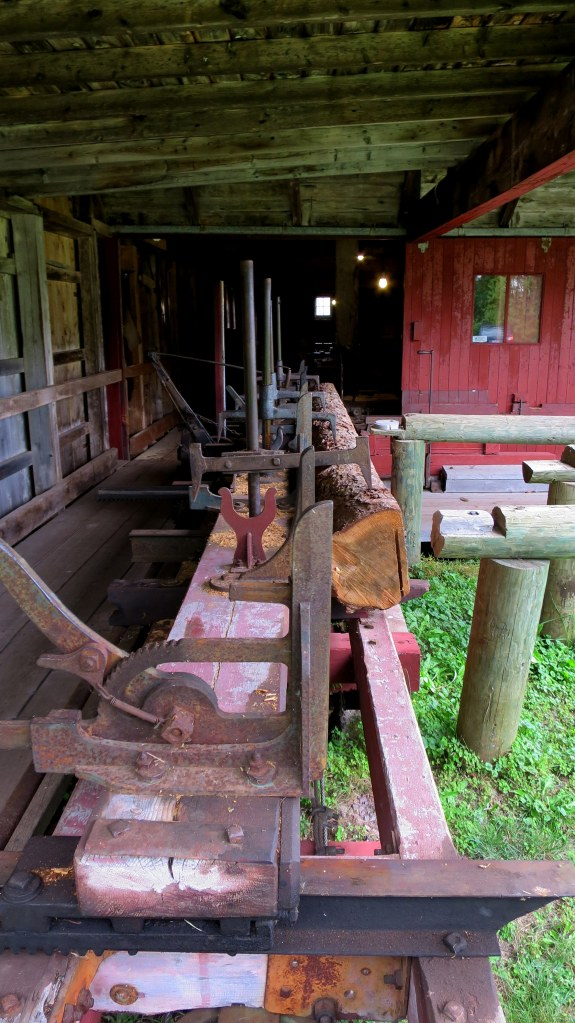 Sawmill carriage which slid along track into fixed blade, Sutherland Steam Mill Museum, Denmark, Nova Scotia, Canada