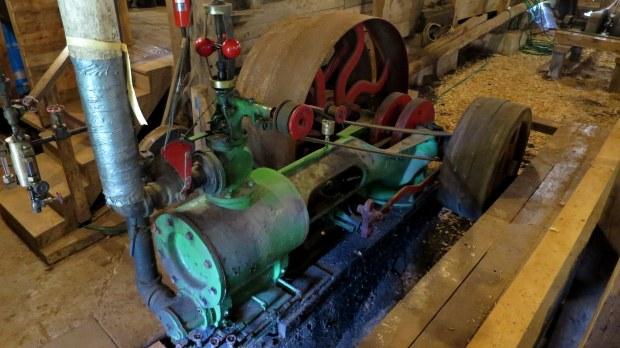 Steam engine (duck tape probably not original), Sutherland Steam Mill Museum, Denmark, Nova Scotia, Canada