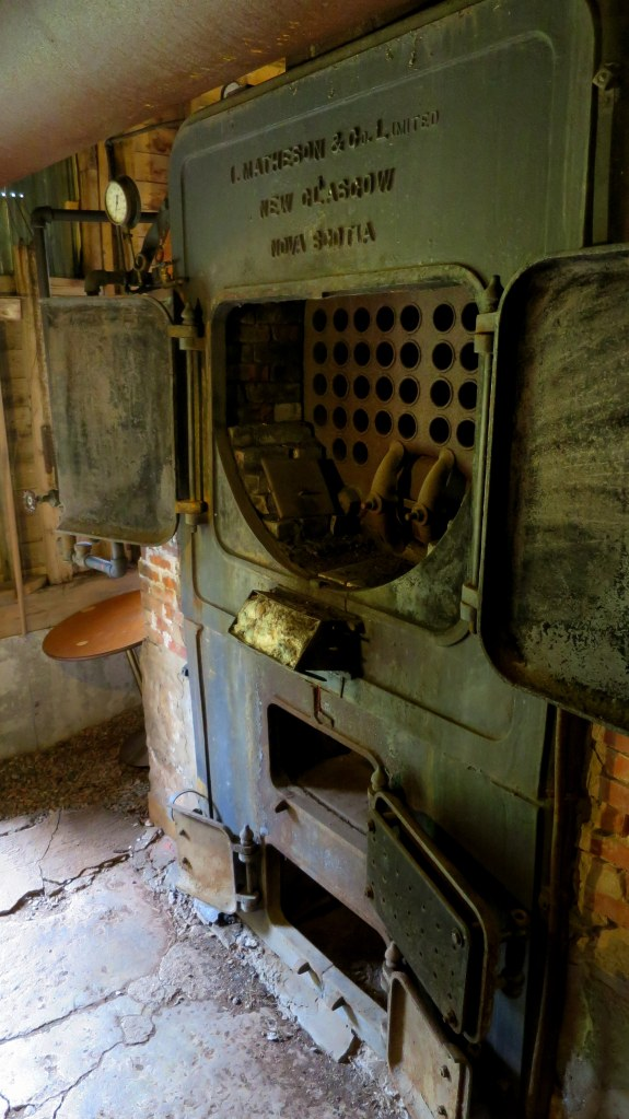 Boiler which evaporated water into steam that drove engine, Sutherland Steam Mill Museum, Denmark, Nova Scotia, Canada