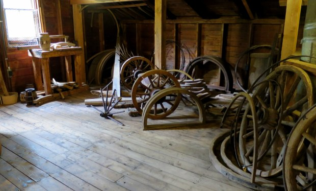 Carriage wheels and forms on second floor workshop, Sutherland Steam Mill Museum, Denmark, Nova Scotia, Canada