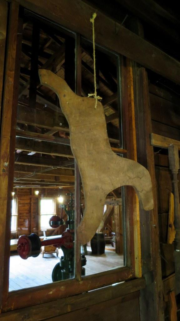 Original pattern for rocking horse on second floor workshop, Sutherland Steam Mill Museum, Denmark, Nova Scotia, Canada
