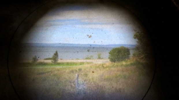 Projected image of bay on floor of camera obscura chamber, Cheverie, Nova Scotia, Canada