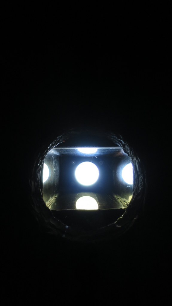Light entering the chamber through skylight, camera obscura, Cheverie, Nova Scotia, Canada