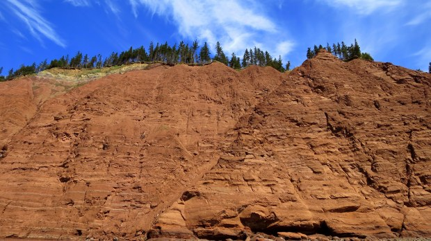 Looking up at Red Cliffs, Five Islands Provincial Park, Nova Scotia, Canada