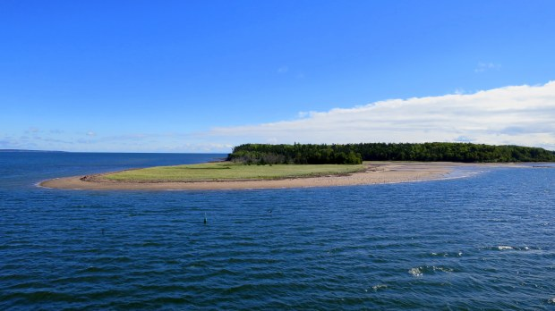 View of small island from aboard the ferry leaving Nova Scotia, Canada