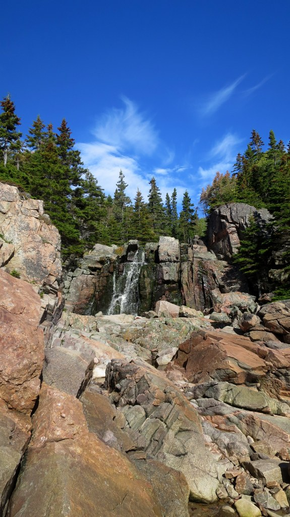 I spy a waterfall, Black Brook Cove, Cape Breton Highlands National Park, Nova Scotia, Canada