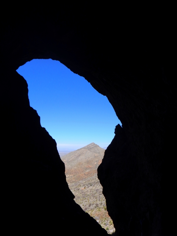 From inside the cave, Aztec Caves Trail, Franklin Mountains State Park, El Paso, Texas