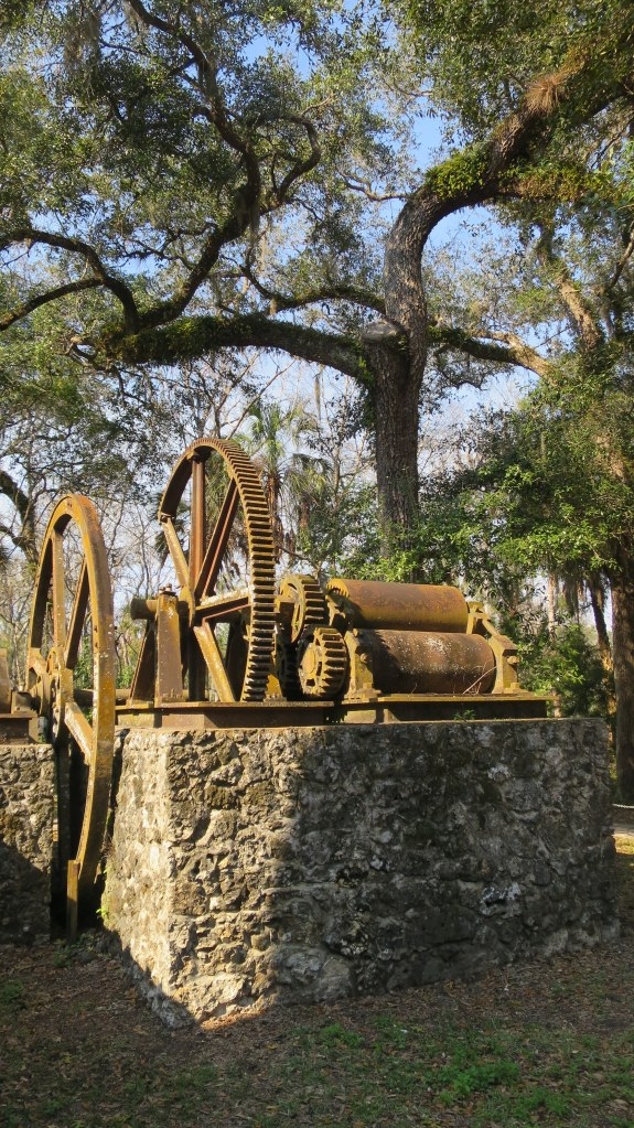 Iron rollers for extracting juice from the cane and gears, Yulee Sugar Mill Ruins State Park, Florida