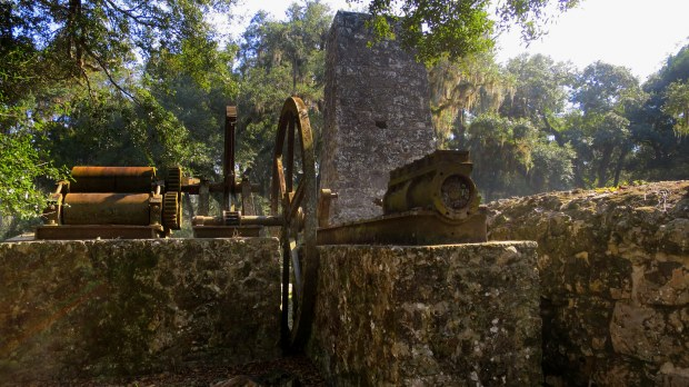 From left to right: extraction rollers, gears, flywheel, and piston, Yulee Sugar Mill Ruins State Park, Florida