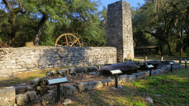 Kettles in foreground, Yulee Sugar Mill Ruins State Park, Florida