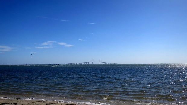 View of Sunshine Skyway Bridge from Fort De Soto Park, Florida