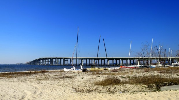 Beached sailboats, Ocean Springs, Mississippi