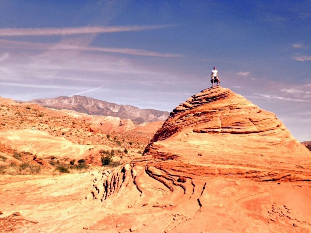 Abby and I at the top of a swirled rock, Red Cliffs National Conservation Area, Utah