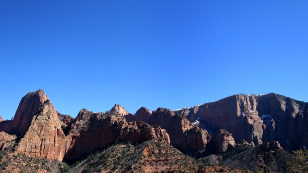 Canyon walls in the sun, Kolob Canyon, Zion National Park, Utah
