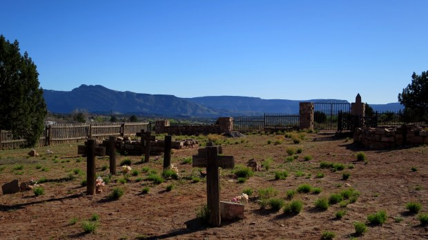 Cemetery looking northwest to Pine Valley Mountains, Silver Reef, Utah