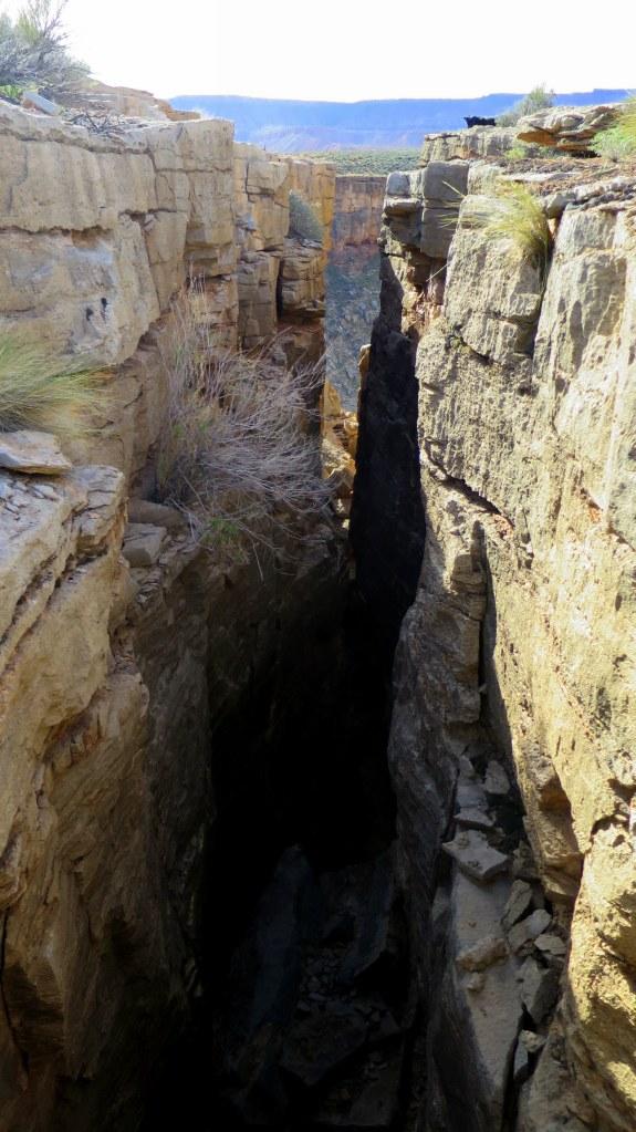 Looking into a crack, Virgin River Canyon Rim, Utah