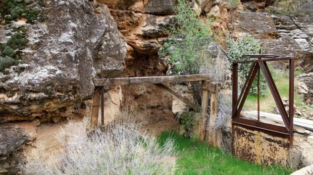 Remnant of dam on canal, Canal Trail, Hurricane Cliffs Recreation Area, Utah